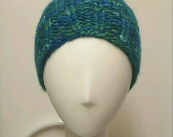 Soft Hand knitted blue and green hat.