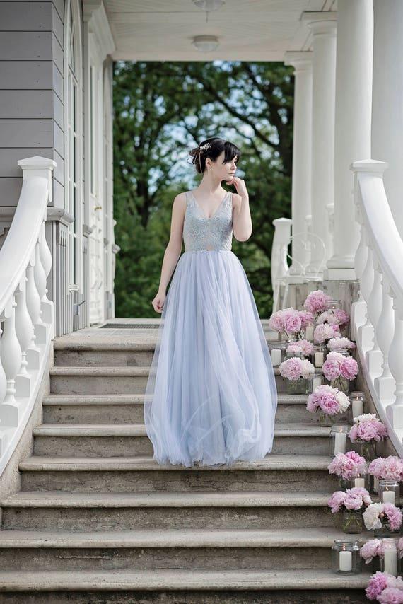 Dusty blue wedding dress bohemian wedding dress dusty blue | Etsy