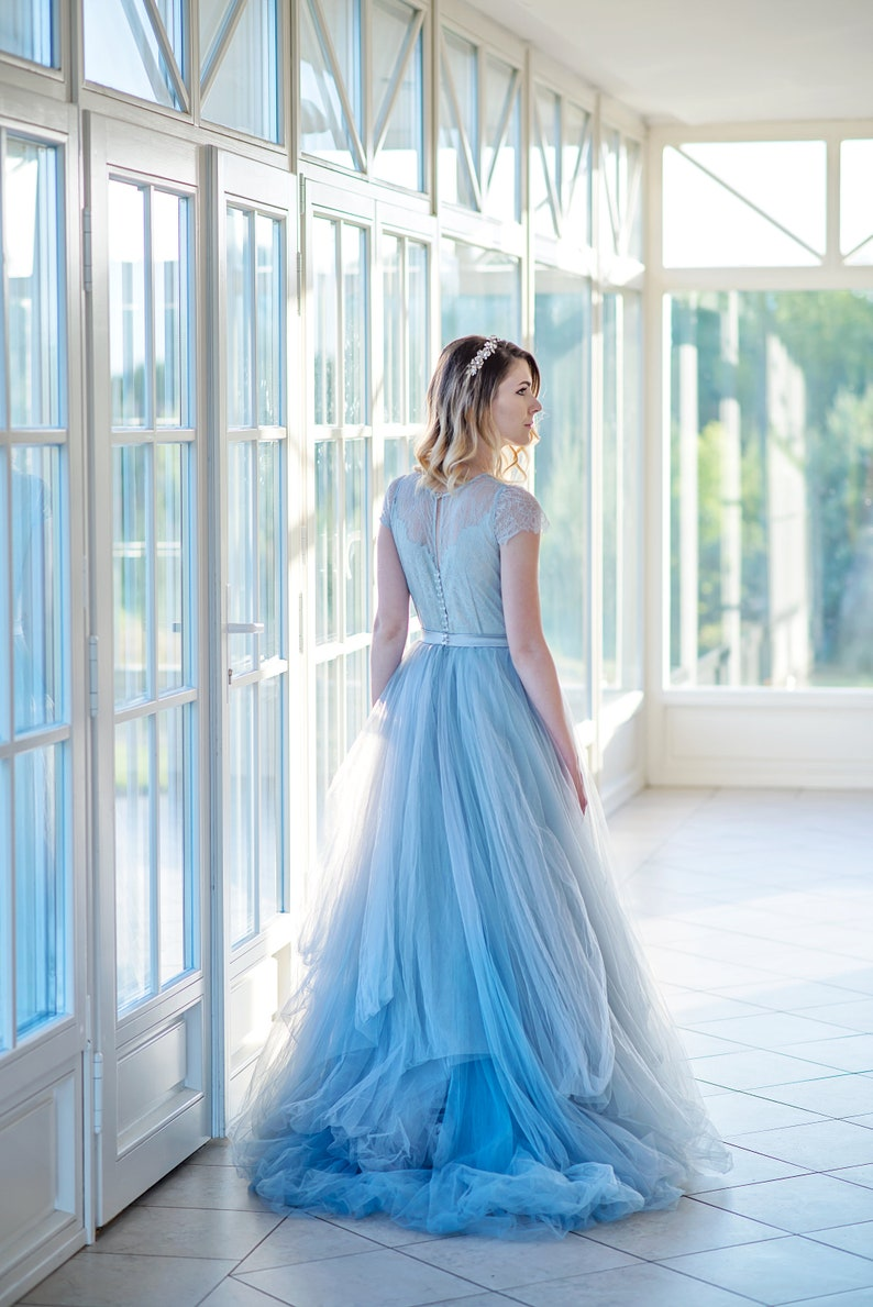 5dcde039db0c9 Dusty blue ombre wedding dress, colorful wedding dress, tulle bridal gown,  unique bohemian wedding dress, ombre wedding dress - Nephele