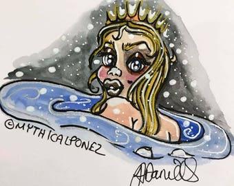 Snow Mermaid A5 watercolour illustration Mythicalponez girl princess winter original fairytale fantasy dark art crown sea ocean night sky