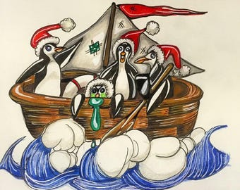 Holiday At Sea A5 original illustration penguins ocean boat Father Christmas drawing ink fairytale fantasy art
