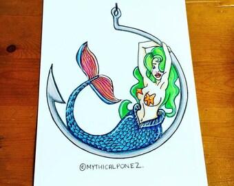 Hook A5 A4 digital print Mythicalponez mermaid fishing girl pop surrealism ink polychrome illustration fairytale fantasy bizarre surreal art
