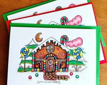 Gingerbread A5 greeting cards Christmas illustration snow sweets fairytale fantasy story magical drawing ink polychrome