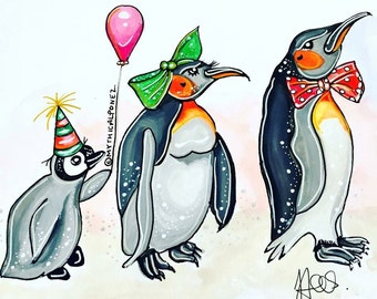 Party Christmas A4 watercolour ink painting original fairytale penguins fantasy popart whimsical surreal snow drawing illustration