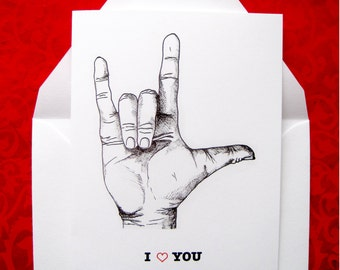 I Love You Hand Signal Valentines Notecards