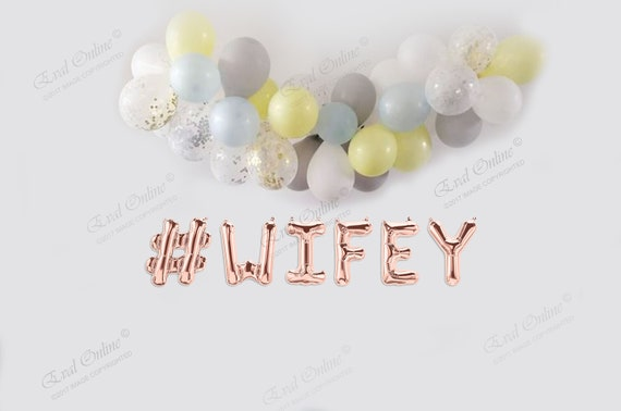 Wedding MR MRS BRIDE BABY Party CHEERS YAY HEN Name Letters Rose Gold Balloons