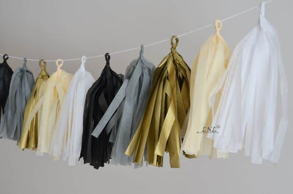 Gold Tie Garland Papier Tassel Garland, Tissu, Mariage, Tassel Garland, Bannière de fête, Tassels, Tassels Pastel, Décoration d'anniversaire