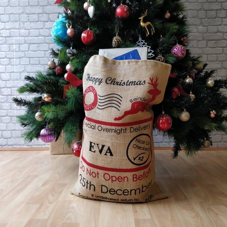 d5582160aab Personalised Extra Large Name Vintage Bag Christmas Santa
