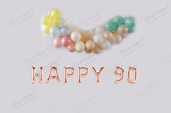 HAPPY 90 16 Rose Silver Or Gold Foil Balloons Birthday