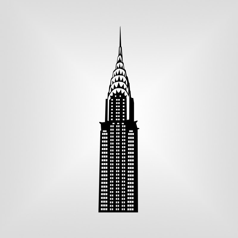 chrysler building ny svg vector art cricut silhouette rh etsy com chrysler building silhouette vector Chrysler Building Interior