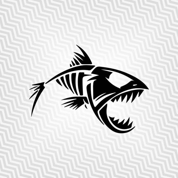 Esqueleto de pescado de Svg recorte de pirañas Vector   Etsy