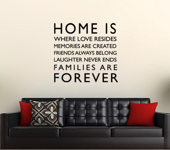 Home is Forever family wall word quote - living room, bedroom, family home  decor-decorative vinyl wall art decal or sticker-0007