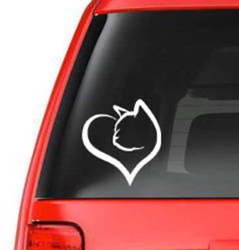 296a03544a Cat head in heart vinyl car window decal-vinyl vehicle window