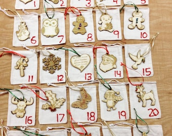 Wooden Advent Calendar Christmas Tree Ornaments-Holiday decorating, sparkle, ribbon, fabric bags, wooden cut outs, laser cut-0046