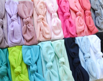 PICK ANY COLOR Baby Head Wrap, newborn baby infant headband, Toddler baby headband, newborn photo prop, knotted head wraps 30 colors!