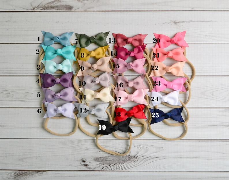 Pick any Bow Nylon headband baby headband newborn baby infant headband newborn photo prop toddler headband 2 ribbon bow headband
