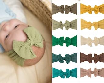 Nylon Baby Head wraps, Knot Bow Head wrap, nylon baby headband, newborn headbands, wide nylon headband, baby shower, CLASSIC KNOT head wrap