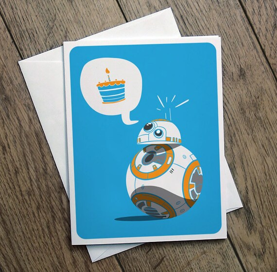 Bb8 Birthday Card Illustration Star Wars Printable Cute Funny