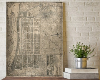 Savannah City Map, Savannah Map Print, Map Art, Map Wall Decor, Savannah Map Art, Vintage Map, Old Map, Old City Map, Savannah Georgia Art