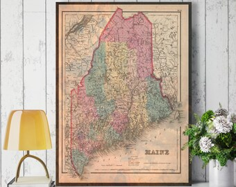 Maine State Map, Maine Map Canvas, Antiqued Maine Map, Canvas Wall Decor, Maine Wall Decor, Map of Maine Canvas