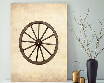 Farmhouse Wagon Wheel, Rustic Wall Art, Canvas Print, Canvas Wall Decor, Farmhouse Wall Art, Wheel Decor, Vintage Decor, Vintage Wheel Art