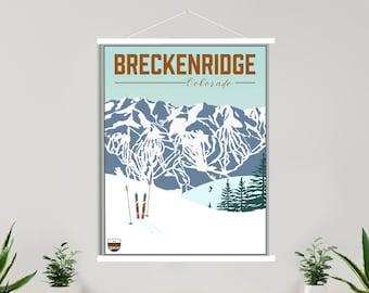 Breckenridge Colorado Ski Resort Illustration Print | Hanging Canvas of Breckenridge Ski Resort | Printed Marketplace