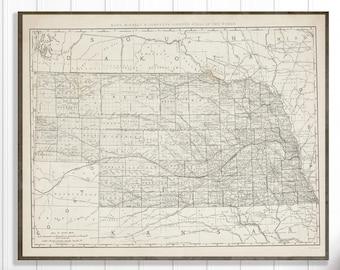 Nebraska map | Etsy
