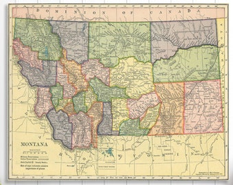 Montana state map | Etsy