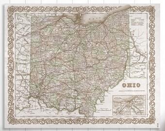 Ohio State Map, Ohio Map Canvas, Antiqued Ohio Map, Canvas Wall Decor, Ohio Wall Decor, Map of Ohio Canvas