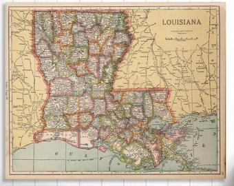 Louisiana map   Etsy