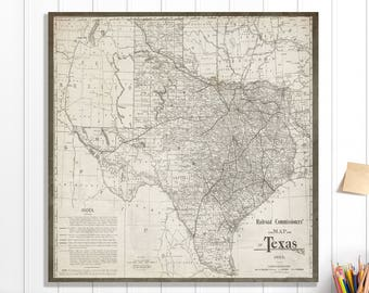 Texas map | Etsy