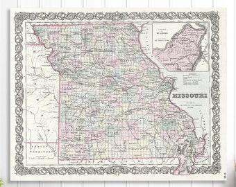 Missouri state map | Etsy