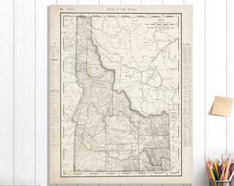 Idaho State Map, Idaho Map Canvas, Antiqued Idaho Map, Canvas Wall Decor, Idaho Wall Decor, Map of Idaho Canvas