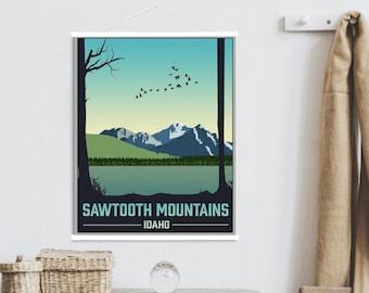 Sawtooth Mountains Idaho Modern Illustration Print   Sawtooth Mountains Magnetic Poster Frame   Printed Marketplace
