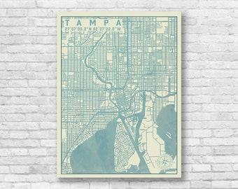 Map Of Tampa Florida.Map Vintage Tampa Etsy