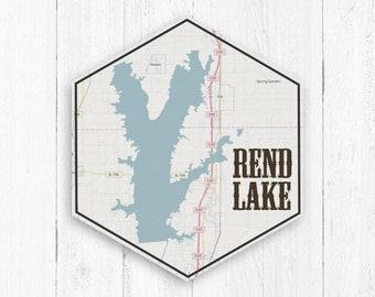 Rend Lake Illinois Map.Rend Lake Etsy