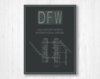 Dallas airport map | Etsy on