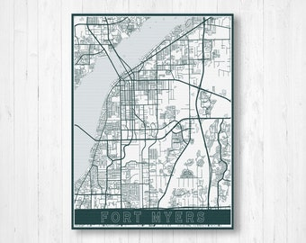 Map Fort Myers Florida.Map Of Fort Myers Etsy
