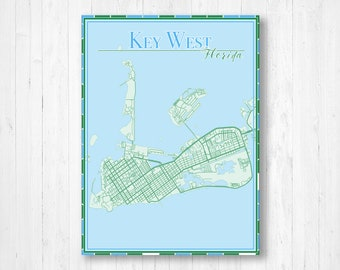 Key West Map Etsy
