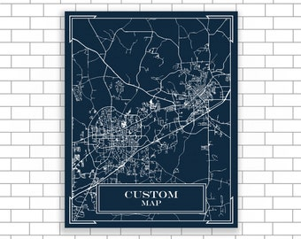 Blueprint map etsy custom city map custom print blueprint map modern map blueprint design custom map city street map map of hometown map printwall art malvernweather