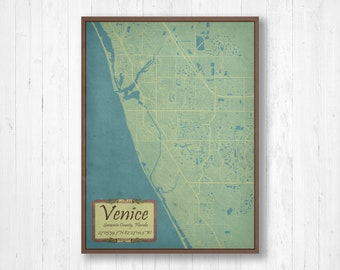 Map Of Venice Florida.Venice Map Etsy