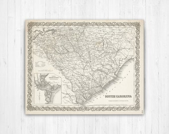 Lowcountry South Carolina Map.South Carolina Map Etsy