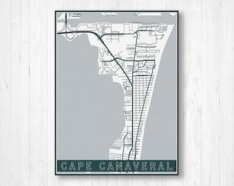 Cape Canaveral Florida Map.Cape Canaveral Fl Etsy