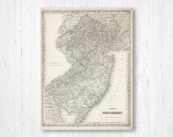 New jersey map | Etsy on