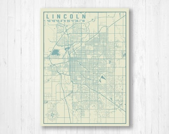 Lincoln nebraska map | Etsy