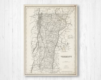 Vermont map | Etsy on