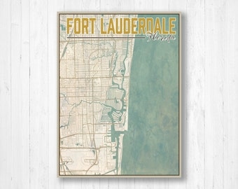Fort Lauderdale On Map Of Florida.Fort Lauderdale Map Etsy