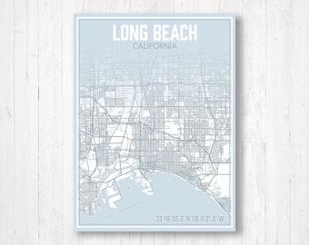 Long beach ca map | Etsy