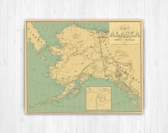 Alaska map print | Etsy