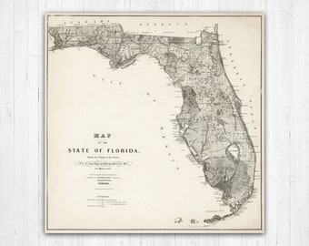 Florida Map Of State.Florida Map Etsy